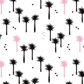Cute abstract summer palm tree illustration print for bohemian kids pink black and white