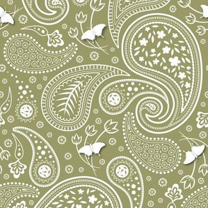 Paisley with butterflies_ver2_olive