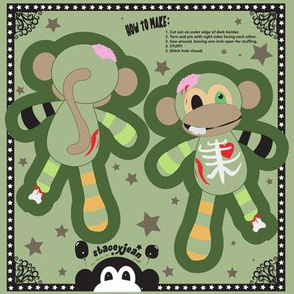 Zombie Monkey Cut & Sew Pillow Doll KeyChain (TS)