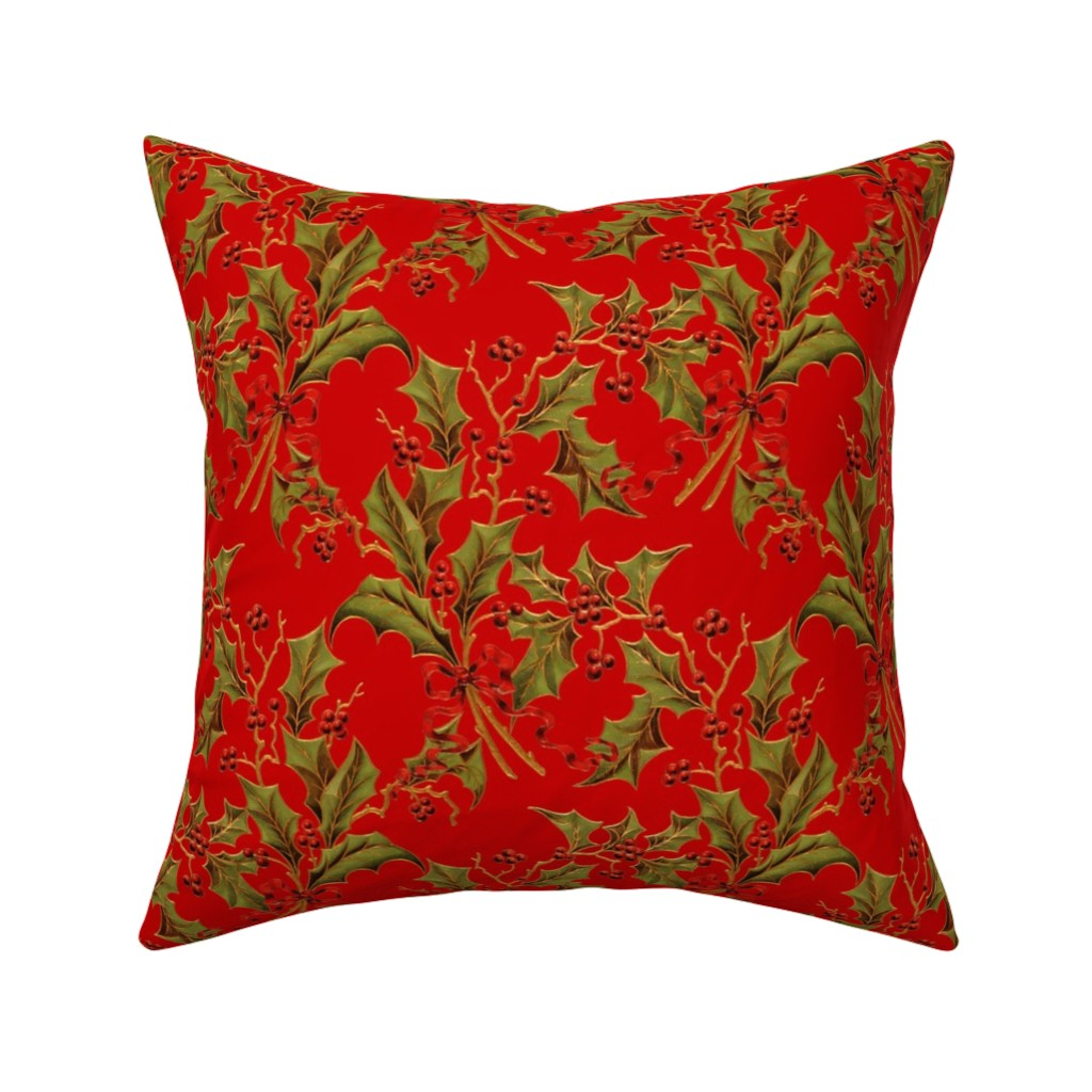 Catalan Throw Pillow featuring Christmas Holly ~ Richelieu  by peacoquettedesigns