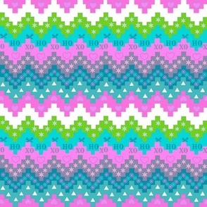 Scandinavian Christmas fabric, Snowflake fabric, Holiday fabric, Christmas stripe , pink and teal, snowflake, Elf,  Chevron