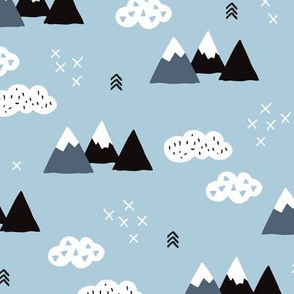 Cool scandinavian winter wonder woodland theme with clouds arrows and mountain peak snow theme