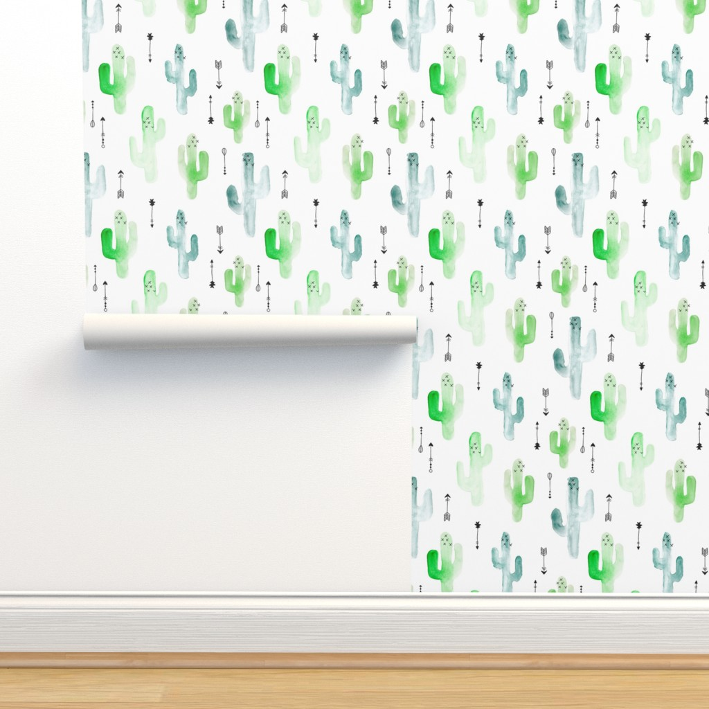 Isobar Durable Wallpaper featuring Watercolor cactus illustration indian summer theme with arrows in blue and green for boys by littlesmilemakers