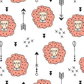 Adorable geometric safari jungle lion scandinavian style illustration design in gender neutral colors