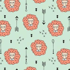 Adorable geometric safari jungle lion scandinavian style illustration design in mint and orange