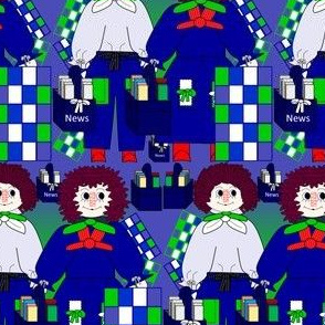 Raggedies Andy and Annie Dolls, Quilting and Newspaper Fabric 1