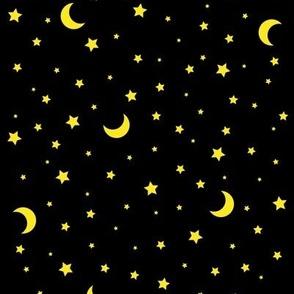 Moon and Stars Celestial Black