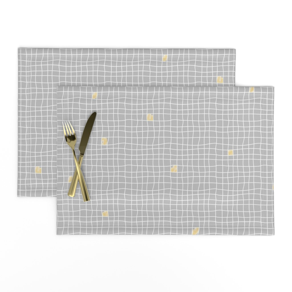 Lamona Cloth Placemats featuring Grey Tiles & Yellow - Carreaux Gris & Jaune by minky_gigi