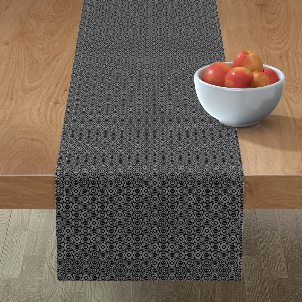 Minorca Table Runner featuring Delicately Speaking Black and White 1-Small by shala