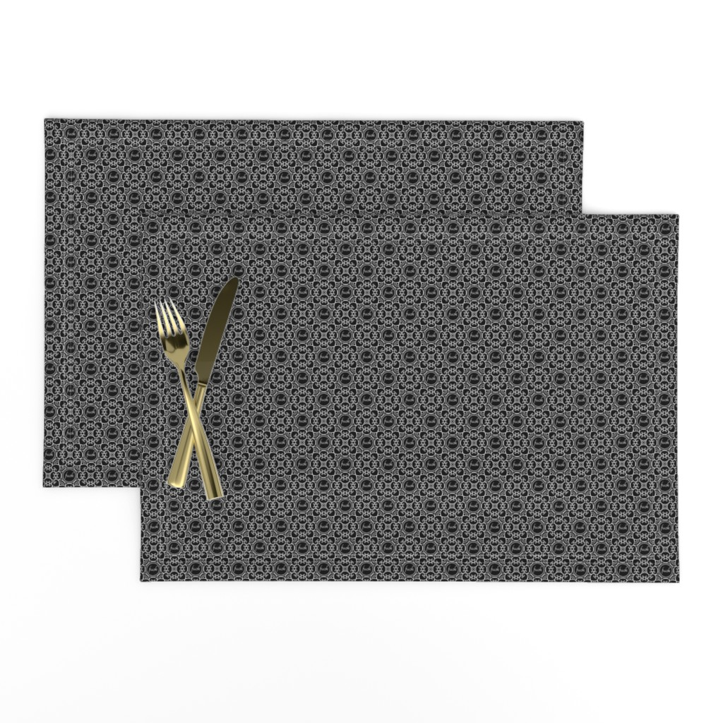 Lamona Cloth Placemats featuring Delicately Speaking Black and White 1-Small by shala