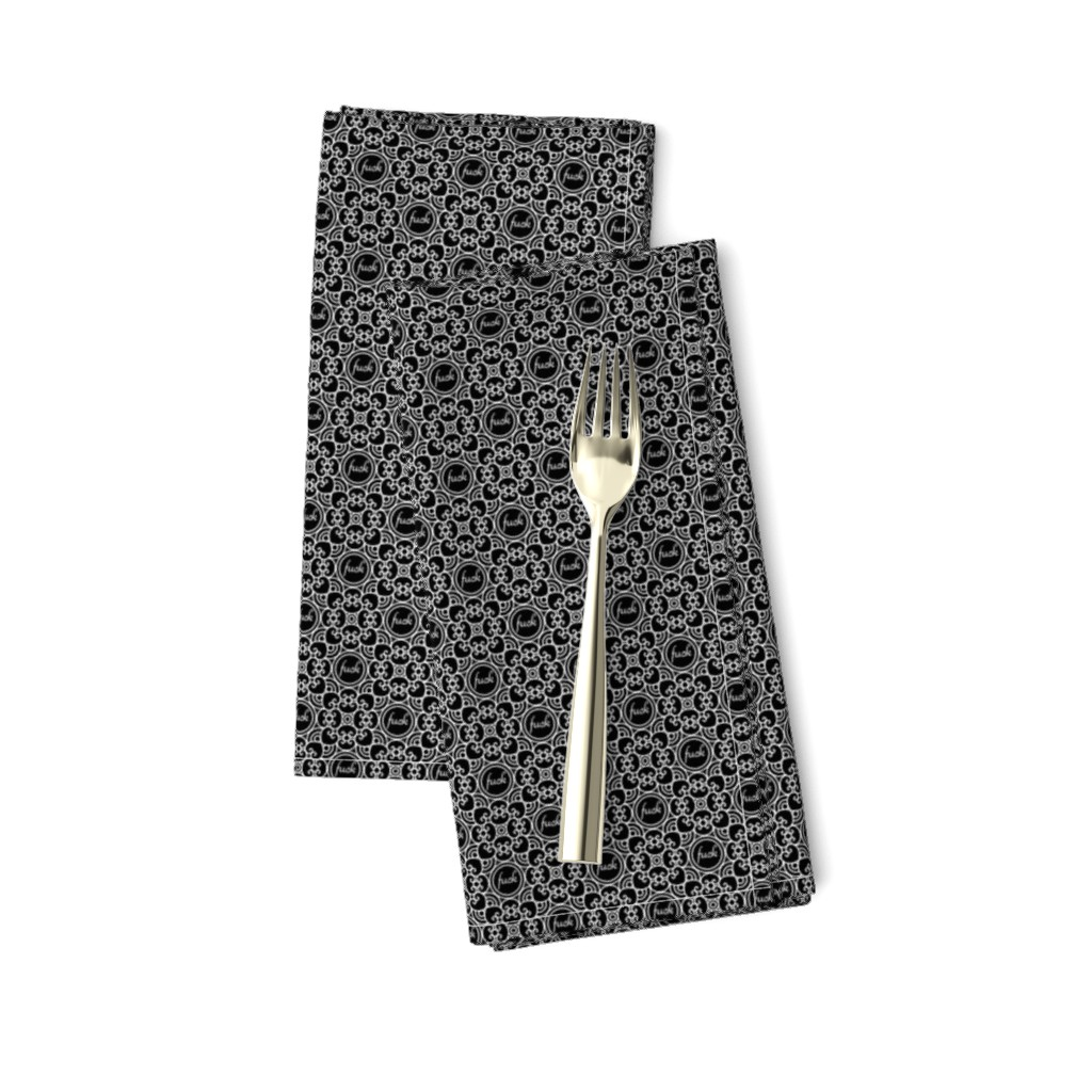 Amarela Dinner Napkins featuring Delicately Speaking Black and White 1-Small by shala