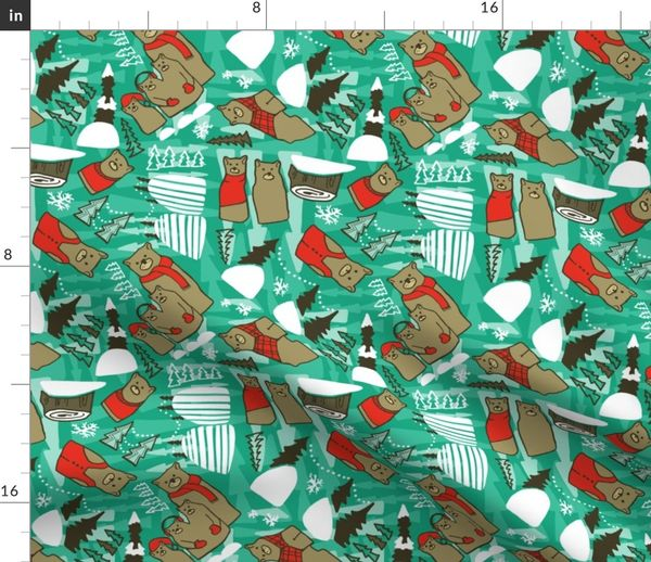 Fabric by the Yard Winter Bears in teal