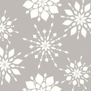 Elegant Snowflakes Warm Gray