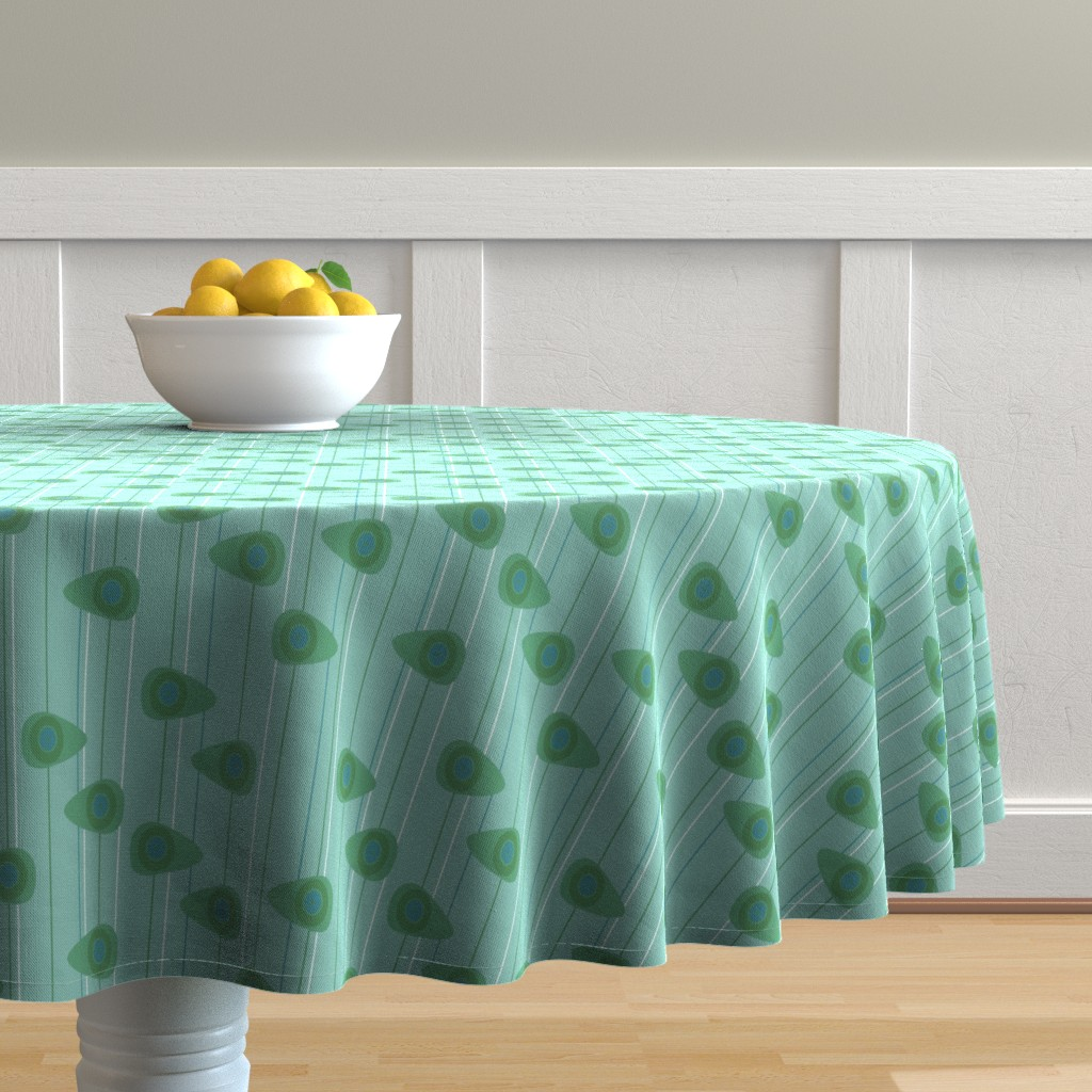 Malay Round Tablecloth featuring Cell-ular Lounge - aqua by designergal