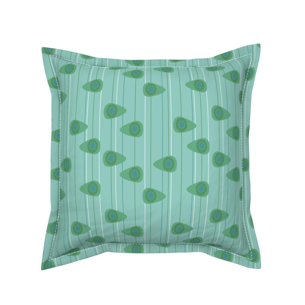 Serama Throw Pillow featuring Cell-ular Lounge - aqua by designergal