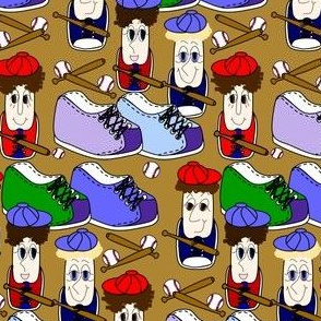 Sneaks Family Baseball  Sneakers, Balls and Bats Fabric 5