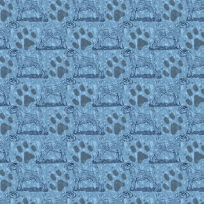 Posing Parson Russell Terrier stamp - blue