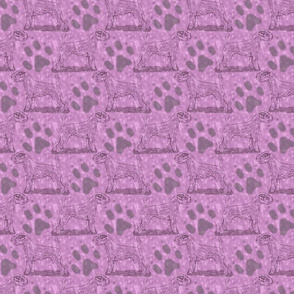 Posing Parson Russell Terrier stamp - pink