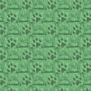 Posing Parson Russell Terrier stamp - green