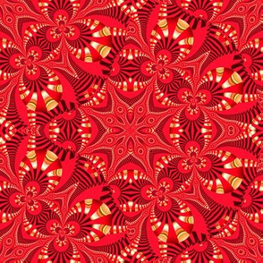 Fake Gold and Red Fractal Star Web