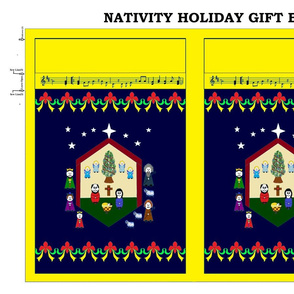Nativity Holiday Gift Bag - yellow/navy
