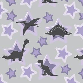 Baby dinosaurs with purple stars