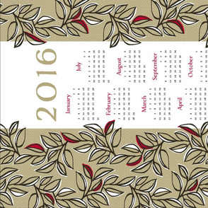 leaves calendar towel