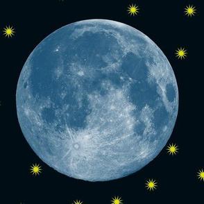 blue supermoon and fireflies on dark navy