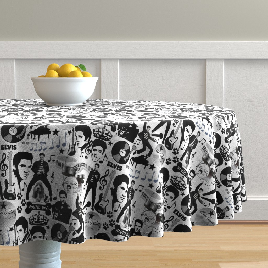 Malay Round Tablecloth featuring HOUND DOG by bluevelvet