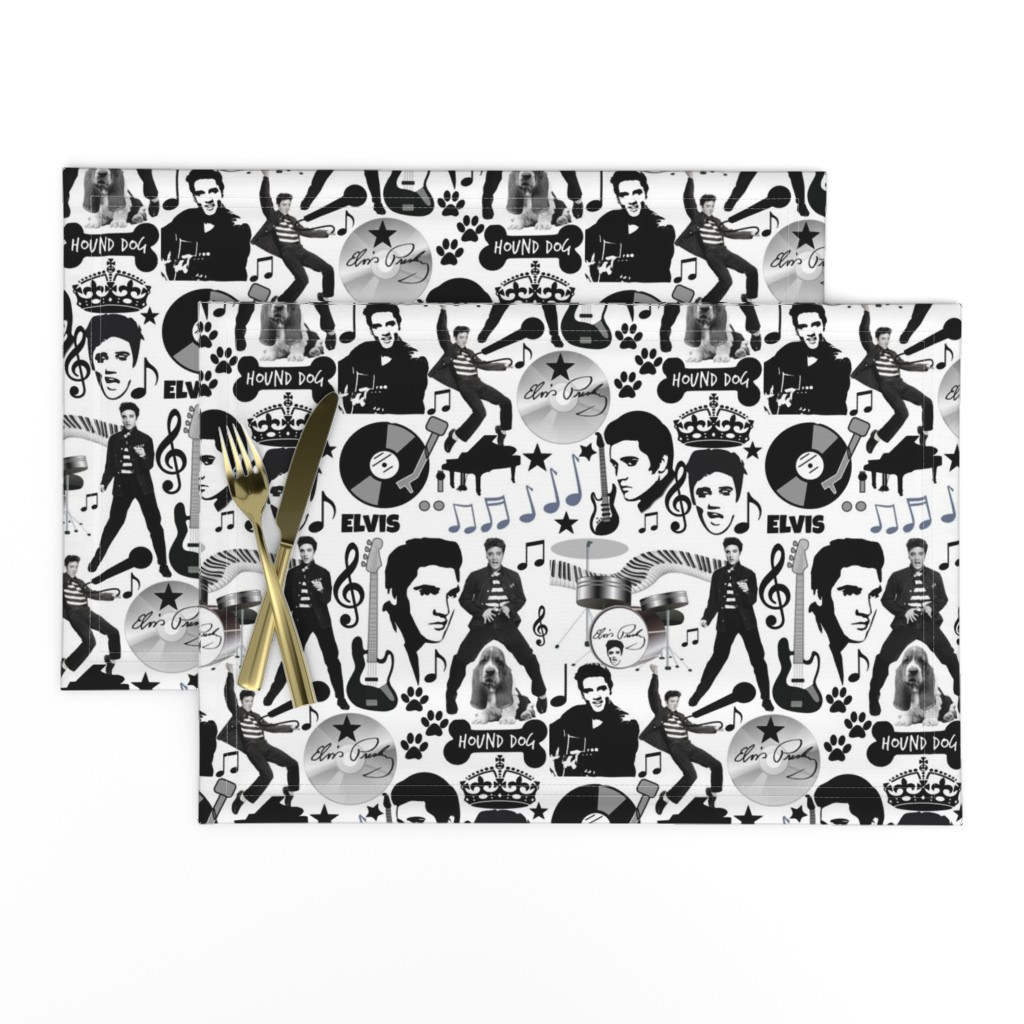 Lamona Cloth Placemats featuring HOUND DOG by bluevelvet