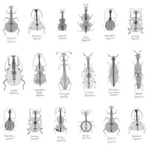 stringed beetles small - greyscale