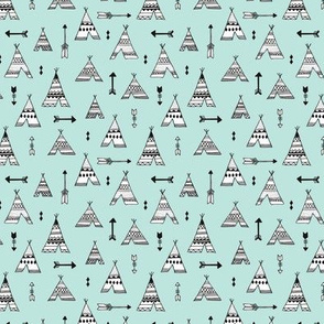 Trendy teepee and indian summer arrow illustration geometric aztec print in mint XS