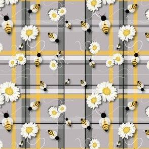 Daisies & Bees Plaid
