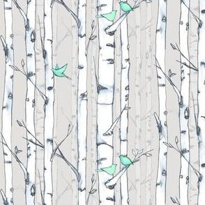 Birch and Birds Mint