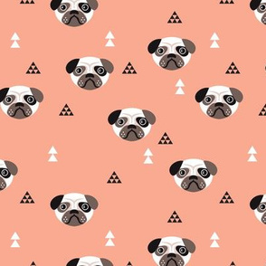 Geometric pug love puppy dog illustration cute kids retro animals in mustard