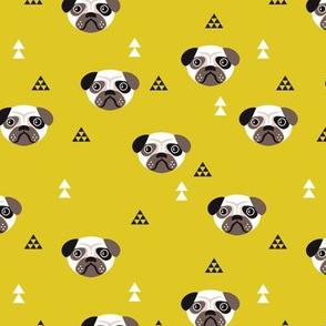 Geometric pug love puppy dog illustration cute kids retro animals in mustard