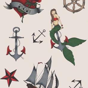 Classic Sailor Tattoo Fabric- Cream Background