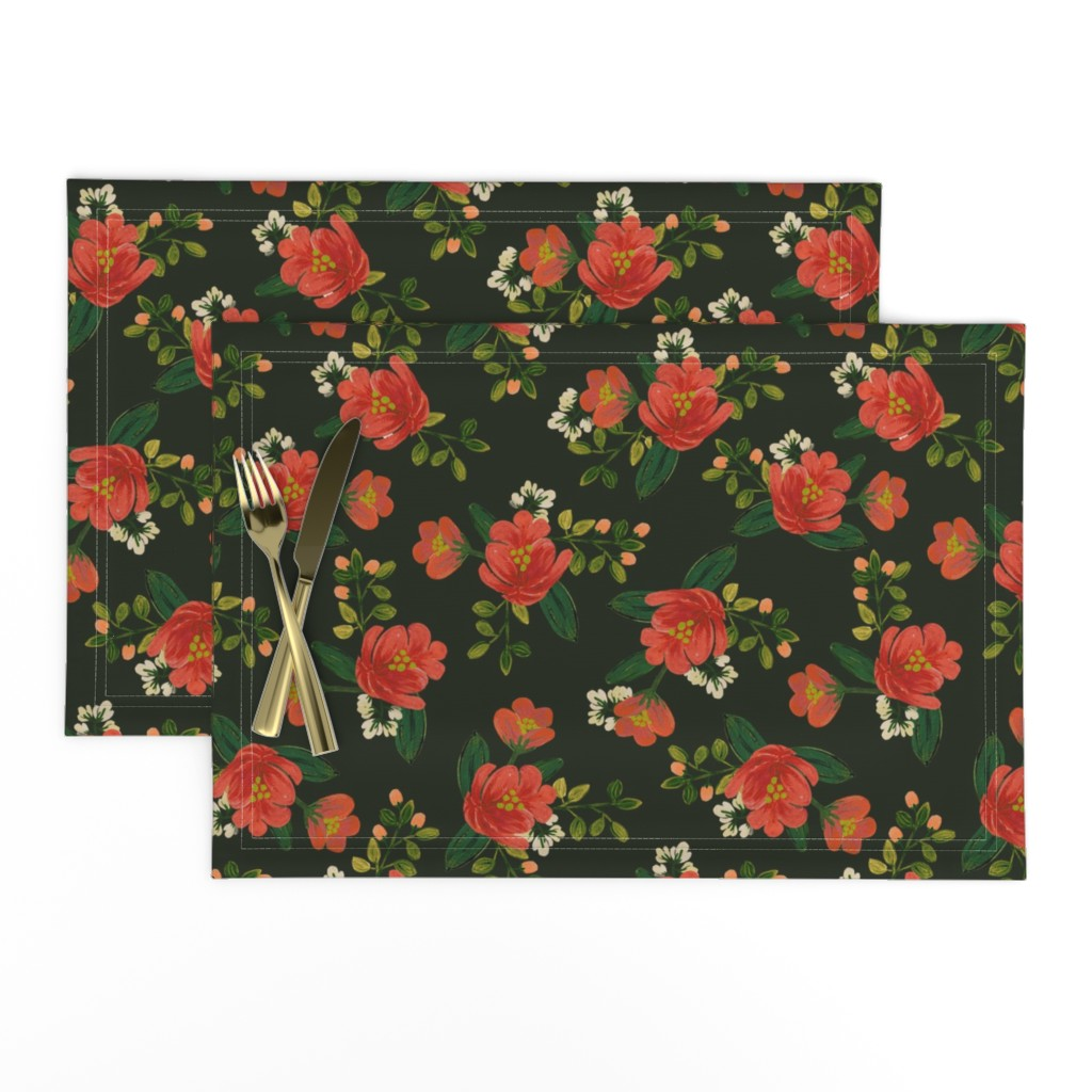 Lamona Cloth Placemats featuring Holiday Floral by shelbyallison