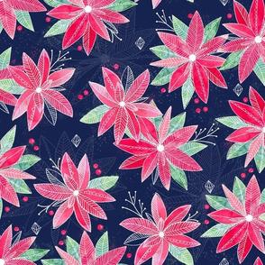 Holiday Bloom Poinsettias Navy