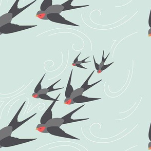 Diving Swallows in Mint