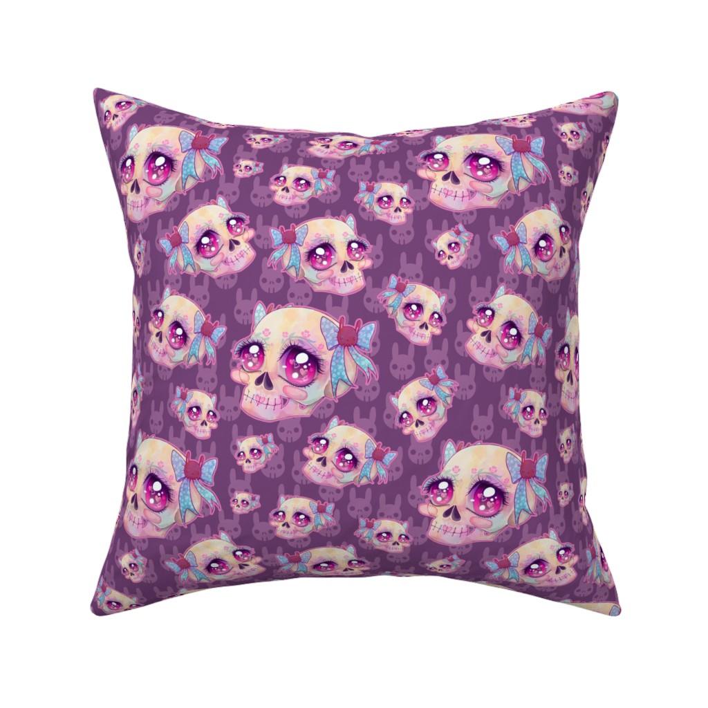 Catalan Throw Pillow featuring Cute Skulls by miranema