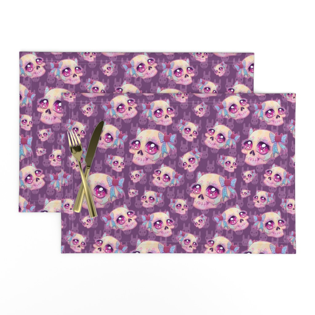 Lamona Cloth Placemats featuring Cute Skulls by miranema