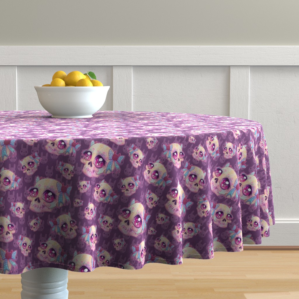 Malay Round Tablecloth featuring Cute Skulls by miranema