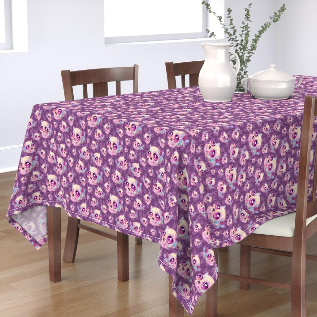 Bantam Rectangular Tablecloth featuring Cute Skulls by miranema