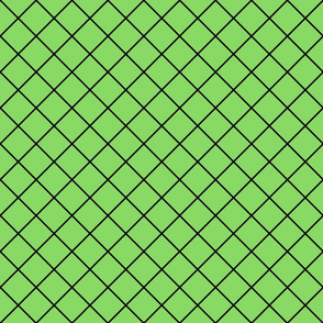 Fishnet Diamonds - 2 inch (5.08cm) - Black Outlines (#000000) on Light Green (#89DA65)