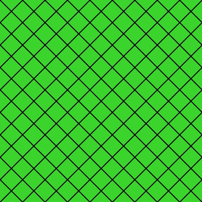 Fishnet Diamonds - 2 inch (5.08cm) - Black Outlines (#000000) on Mid Green (#3AD42D)