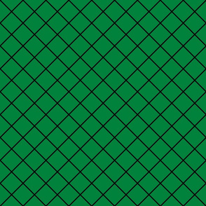 Fishnet Diamonds - 2 inch (5.08cm) - Black Outlines (#000000) on Dark Green (#00813C)