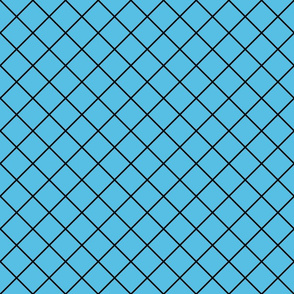 Diamonds - 2 inch - Black Outlines on Light Blue (#57BEE4)