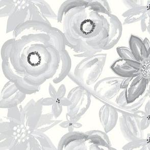 Spring Garden Watercolor Floral in Gray