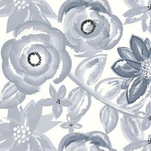 Spring Garden Watercolor Floral in Navy